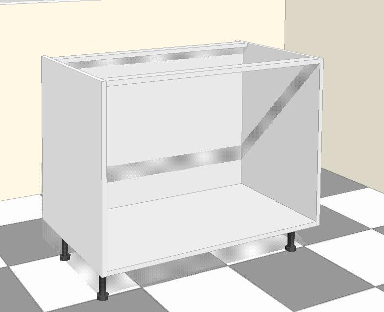 colocando el primer mueble bajo a la cocina